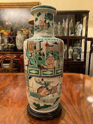 An Excellent Large Chinese Qing Dynasty Wucai Porcelain Rouleat Vase, Marked.