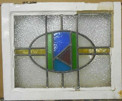 "MID SIZED OLD ENGLISH LEADED STAINED GLASS WINDOW Awesome Geometric 22"" x 17.75"""