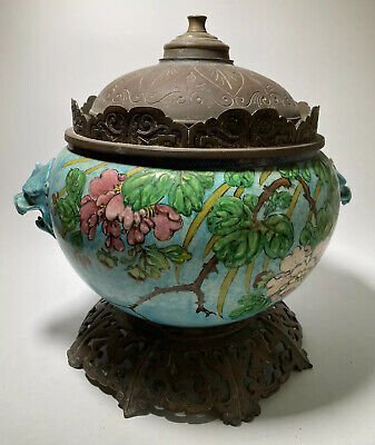 Antique Chinese Porcelain Majolica Vase Mounted as Lamp with Foo Dogs