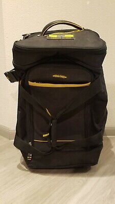 Vintage Polo Sport Ralph Lauren Rolling Carryon Luggage Bag Black & Yellow