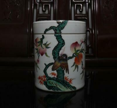 Old Rare Famille Rose Chinese Porcelain Tea Caddy Jiaqing MK