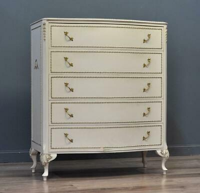 Attractive Tall Large Vintage French Style Chest Of Five Drawers