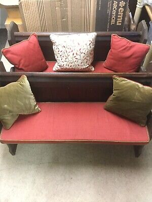 Pair Of Matching Antique Church Pews Or Benches With Cushions