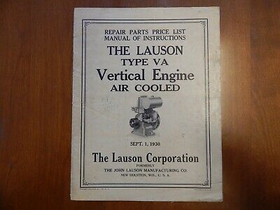 1930 Lauson Type VA Engine Manual