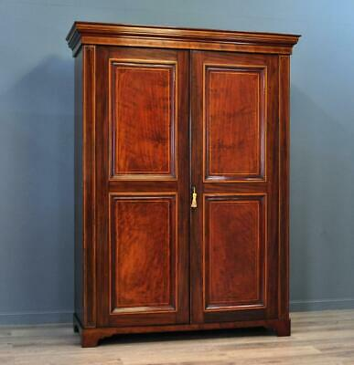 Attractive Large Antique Victorian Panelled Mahogany Double Fitted Wardrobe