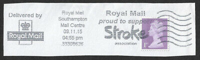 2015 1st class lilac stamp used with Royal Mail proud to support Stroke slogan