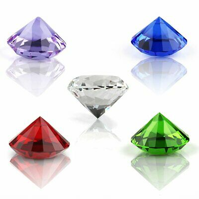 40/60/80mm Crystal Clear Paperweight Cut Glass Giant Diamond Jewel Decor Gift