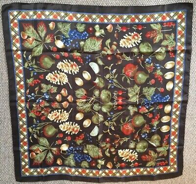 Beautiful Large Vintage Silk Scarf Fruit And Vegetable Design By Codello