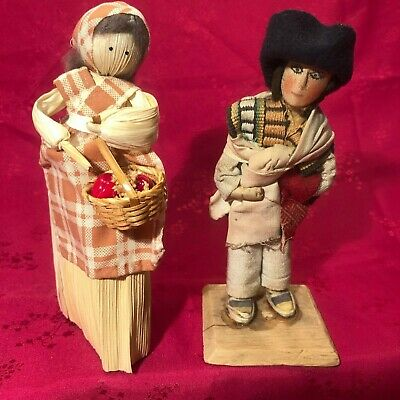 "Vtg 6"" folk art corn husk ""maiden"" doll & Ecuadorian male doll in original dress"