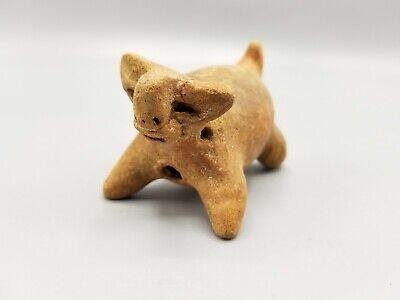 Ancient Pre-Columbian Chancay Peruvian Pottery Animal Rattle Llama Or Dog