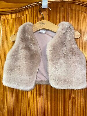 NEXT Baby Girls Pink Faux Fur Cape Coat Poncho Jacket Age 12-18 Months
