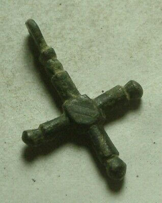 Rare Genuine Original Roman Byzantine bronze cross pendant artifact intact