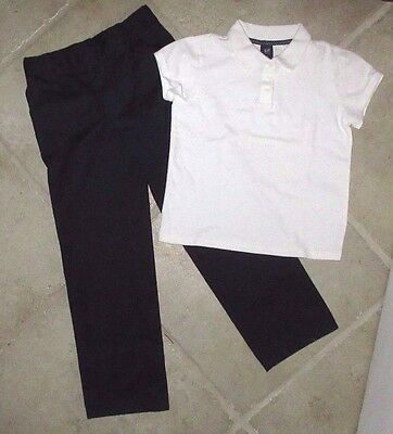 Youth Boy's Girl's Size 8 French Toast Navy School Uniform Pants Gap White Polo