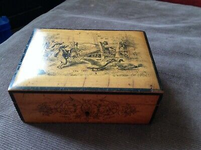 antique/vintage wood box  boy chasing ducks