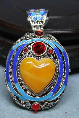 Exquisite Handwork Miao Silver Inlay Yellow Love Lucky Rare Beautiful Pendant