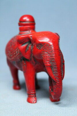 Collectable Handwork Coral Carved Elephant Auspicious Rare Beauty Snuff Bottles