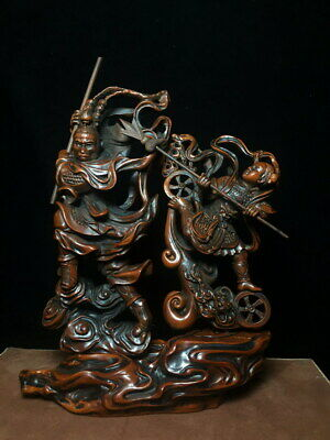 Collectable Exquisite Decor Handwork Boxwood Carve Monkey King Auspicious Statue