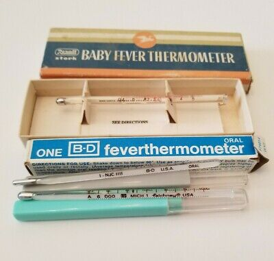 Vintage Lot of 3 Glass Fever Thermometers Rexal B-D & GP Mich 1 Faichney