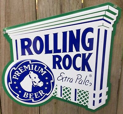 "Rolling Rock Extra Pale Embossed Beer Metal Bar Sign Advertising 16"" x 16"""