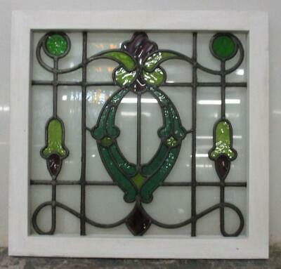 "MIDSIZE OLD ENGLISH LEADED STAINED GLASS WINDOW Stunning Floral Design 23"" x 22"""