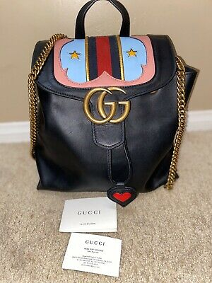 Authentic Gucci GG Marmont Leather Backpack Black Western Bag Drawstring 432265