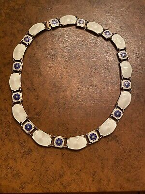Antique Sterling Silver David Andersen Norway Enamel Necklace 16""