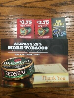 Two coupons for Red Seal @ $3.75 off a roll & 1 for Skoal @ $3.50 off a roll