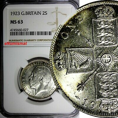 GREAT BRITAIN George V (1910-1936) Silver 1923 1 FLORIN NGC MS63  KM# 817a