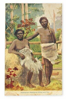 AUSTRALIAN ABORIGINAL CHIEF & GIN, EARLY 1900s CHARLES KERRY COLOUR POSTCARD