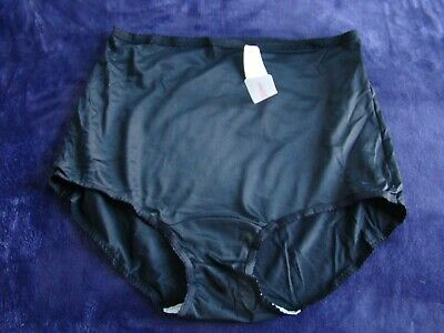 VINTAGE SHADOWLINE PANTY BRIEF BLACK SHEER NYLON  size XL