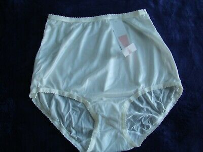 VINTAGE SHADOWLINE PANTY BRIEF IVORY SHEER NYLON  size 5 SMALL