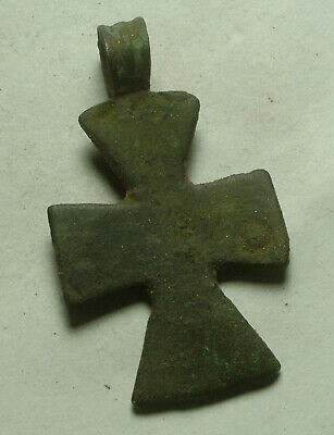 Rare Genuine Original Roman Byzantine bronze artifact intact cross pendant