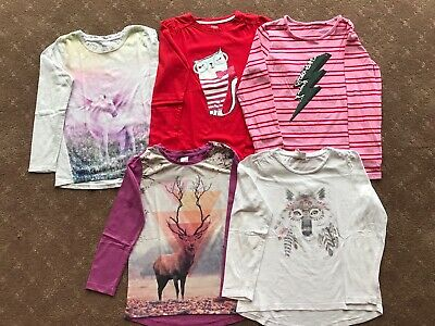 Girls 5x Long Sleeve Tees, Size 10, Preloved