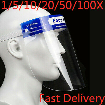 1-100X Anti-fog Full Face Shield With Clear Face Transparent Work Industry Lot