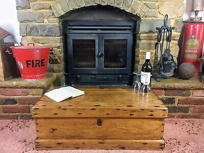 Old Antique Pine Chest, Vintage Wooden Storage Trunk, Coffee Table.