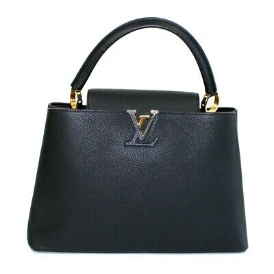 Auth Used LOUIS VUITTON Capucines PM hand bag Taurillon Leather Black 357442