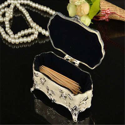 European Style Zinc alloy Carved Cotton Swab Box Toothpick Box N7