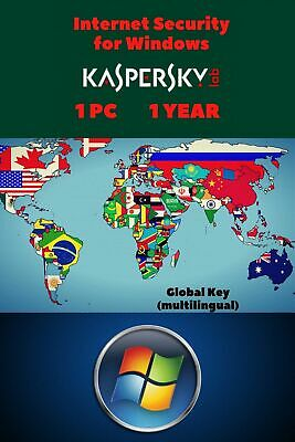 Kaspersky Internet Security for Windows 2020 1 PC 1 YEAR GLOBAL KEY
