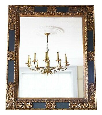 Antique large quality gilt and ebonised wall mirror early 20th Century