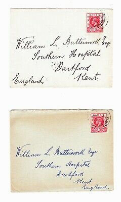 Gambia 1916 Ww1 2 Covers Addressed To The Uk.