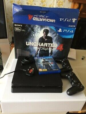 Sony PlayStation 4 Slim 500GB Console with Uncharted 4 Video Game - Black