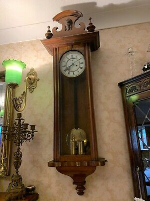 "Gustav Becker 46"" Tall  Double Weighted Vienna Clock Keeps Perfect Time"