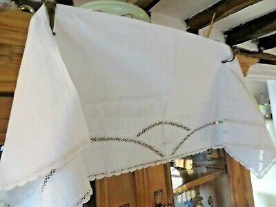 A Charming Country Cottage Vtg.french Linen Shelf Trim / Pelmet~Embroidery& Lace