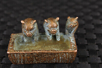 lovely chinese old bronze hand casting three pig statue figure collectable