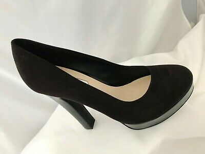 Dorothy Perkins Black Suede and Patent High Platform Court Shoes Size 4