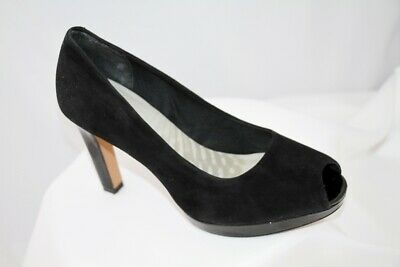 Clarks Cushion Black Suede Leather Peep Toe Court Shoes Size 4.5