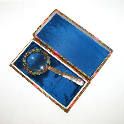 Rare Vintage Chinese Export Jade & Silver Magnifying Glass Antique