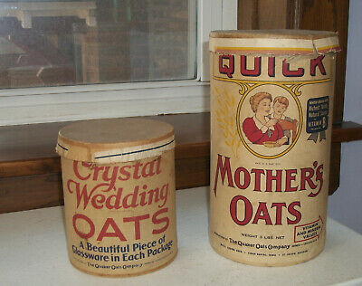 2 Vtg Quaker Oats Containers: Quick Mother's Oats & Crystal Wedding Oats 1920s