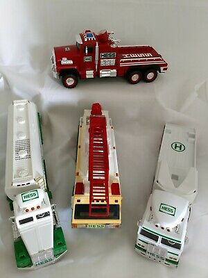 Lot of 4 - HESS Gasoline and Fire Trucks With Working Lights