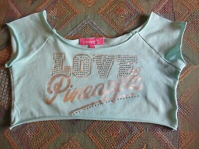 Debenhams Pineapple Girls Green Beaded Sparkly Cropped Top Age 7-8 Years GC